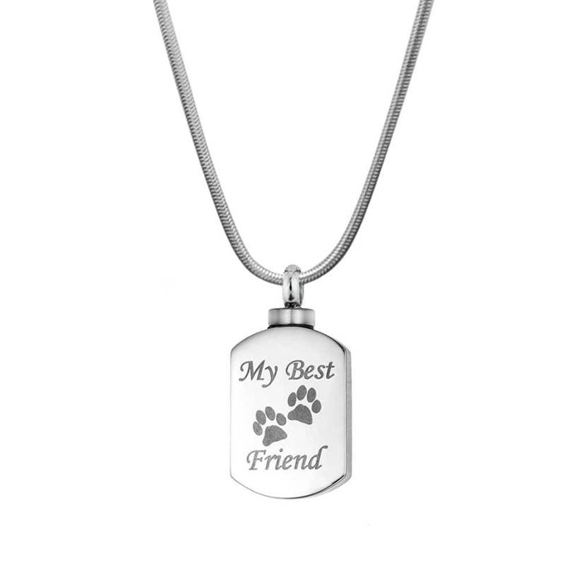 Custom Best Friend Paw Print Cremation Urn Necklace,  Memorial jewelry for Pets - Anavia Memorial Jewelry