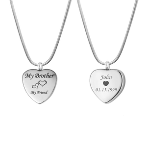Personalized My Brother My Friend Heart Urn Necklace, Cremation Keepsake Memorial Jewelry - Anavia Personalized Jewelry & Gifts