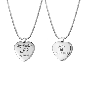 Custom  My Father My Friend Heart Urn Necklace, Cremation Keepsake Memorial Jewelry - Anavia Personalized Jewelry & Gifts