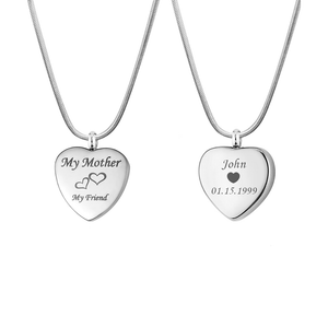 Custom My Mother My Friend Heart Urn Necklace, Cremation Keepsake Memorial Jewelry - Anavia Personalized Jewelry & Gifts