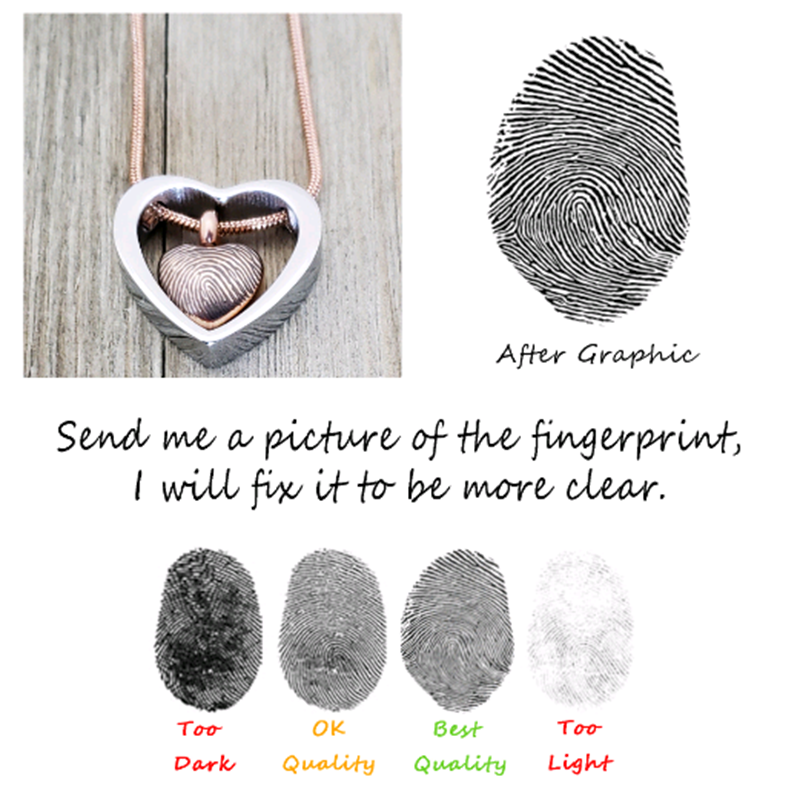 Custom Fingerprint Cremation Urn Heart Necklace,  Engraving Memorial Jewelry Keepsake for Human and Pets Ashes - Anavia Memorial Jewelry