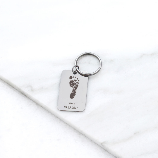 New Baby Footprint Name Keychain - Anavia Personalized Jewelry & Gifts