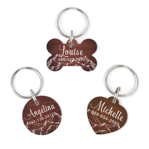 Personalized Mountain Wood Dog Tag Pet ID Tag with Velvet Jewelry Pouch - Anavia Personalized Jewelry & Gifts