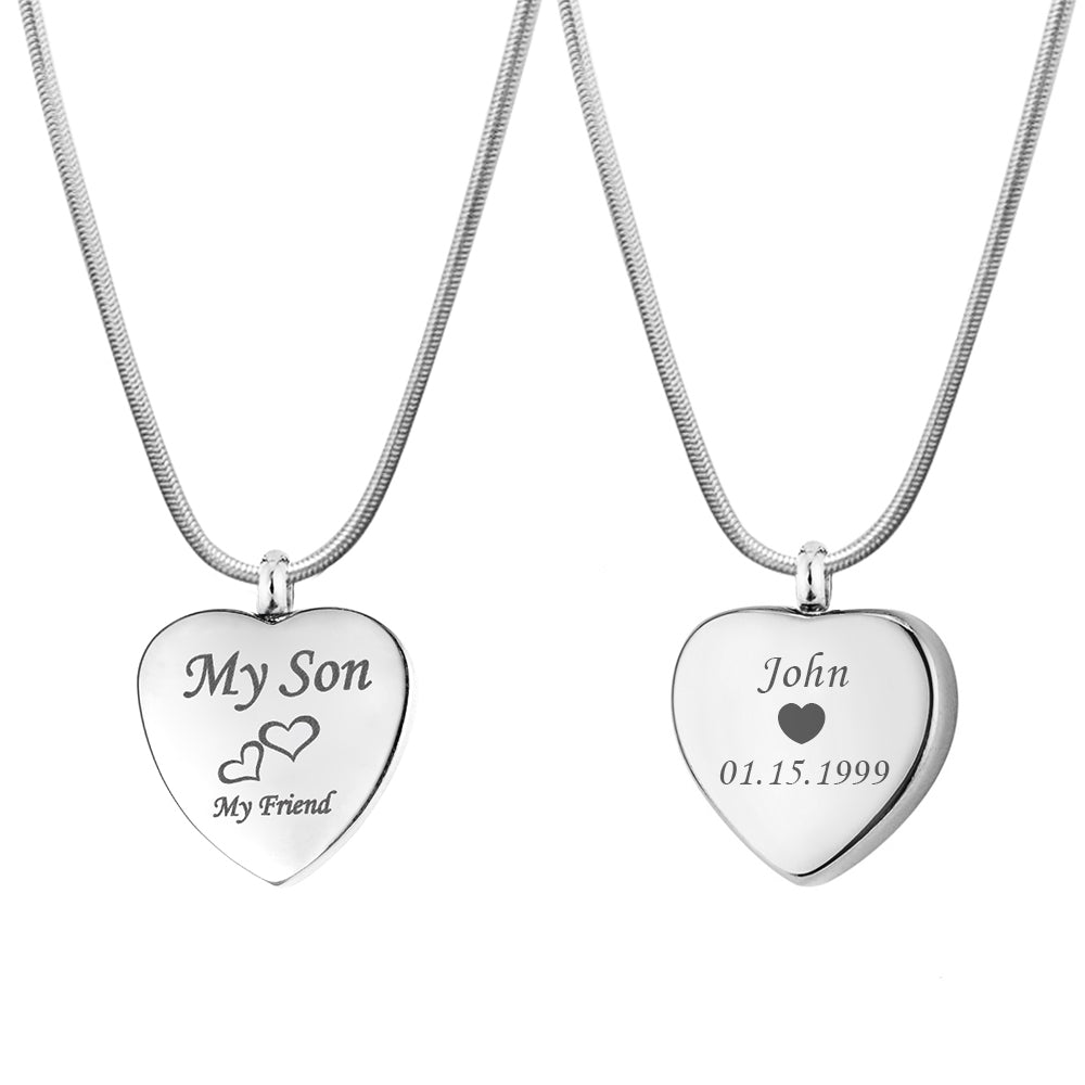 Personalized My Son My Friend Urn Necklace,  Cremation Keepsake Memorial Jewelry - Anavia Memorial Jewelry