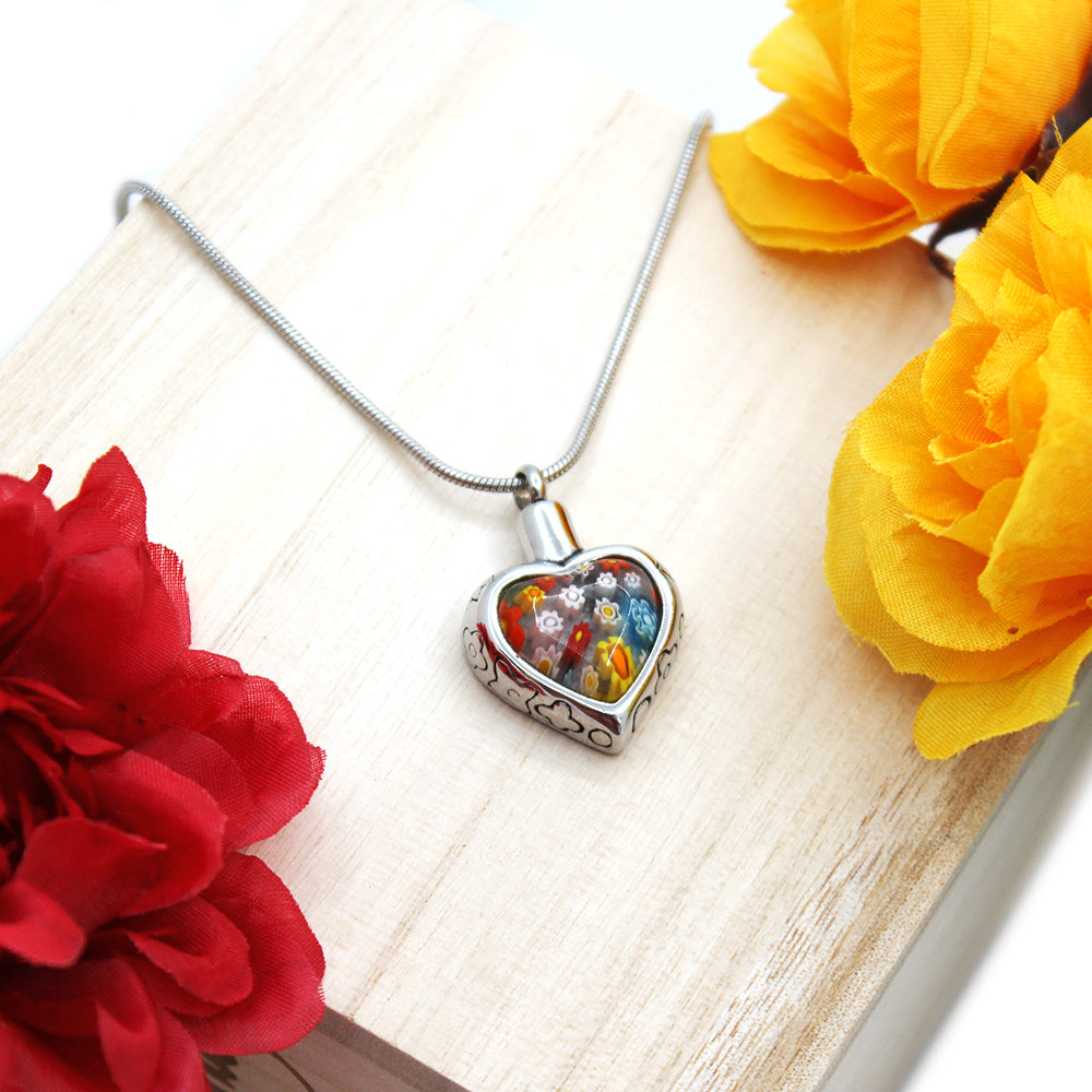 Custom Heart Flower Urn Necklace, Cremation Jewelry Memorial Necklace for Human - Anavia Memorial Jewelry