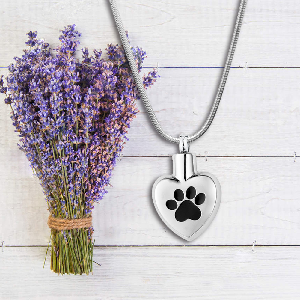 Custom Paw in My Heart Cremation Jewelry Pet Memorial Necklace Cremation Urn Necklace Keepsake - Anavia Memorial Jewelry