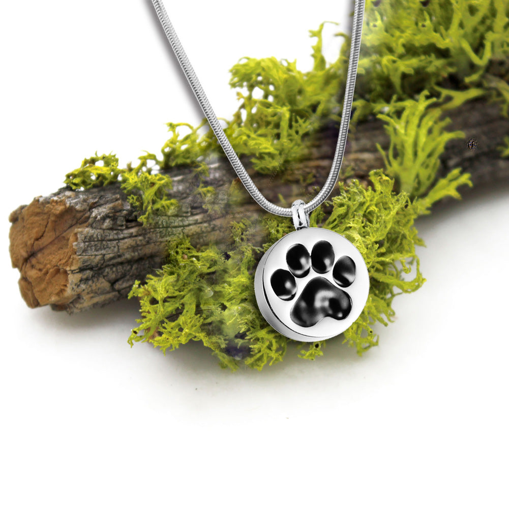 Personalized Round Paw Print Cremation Urn Necklace, Keepsake Jewelry  Memorial Necklace for Pets - Anavia Memorial Jewelry