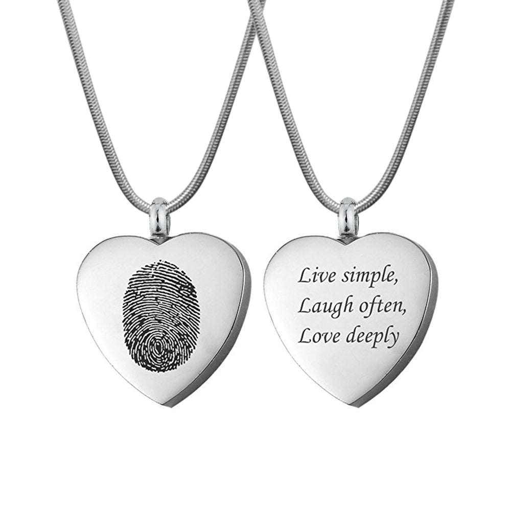 Custom Fingerprint Heart Cremation Necklace, Personalized Memorial Urn Necklace Jewelry for Human and Pet Ashes - Anavia Memorial Jewelry