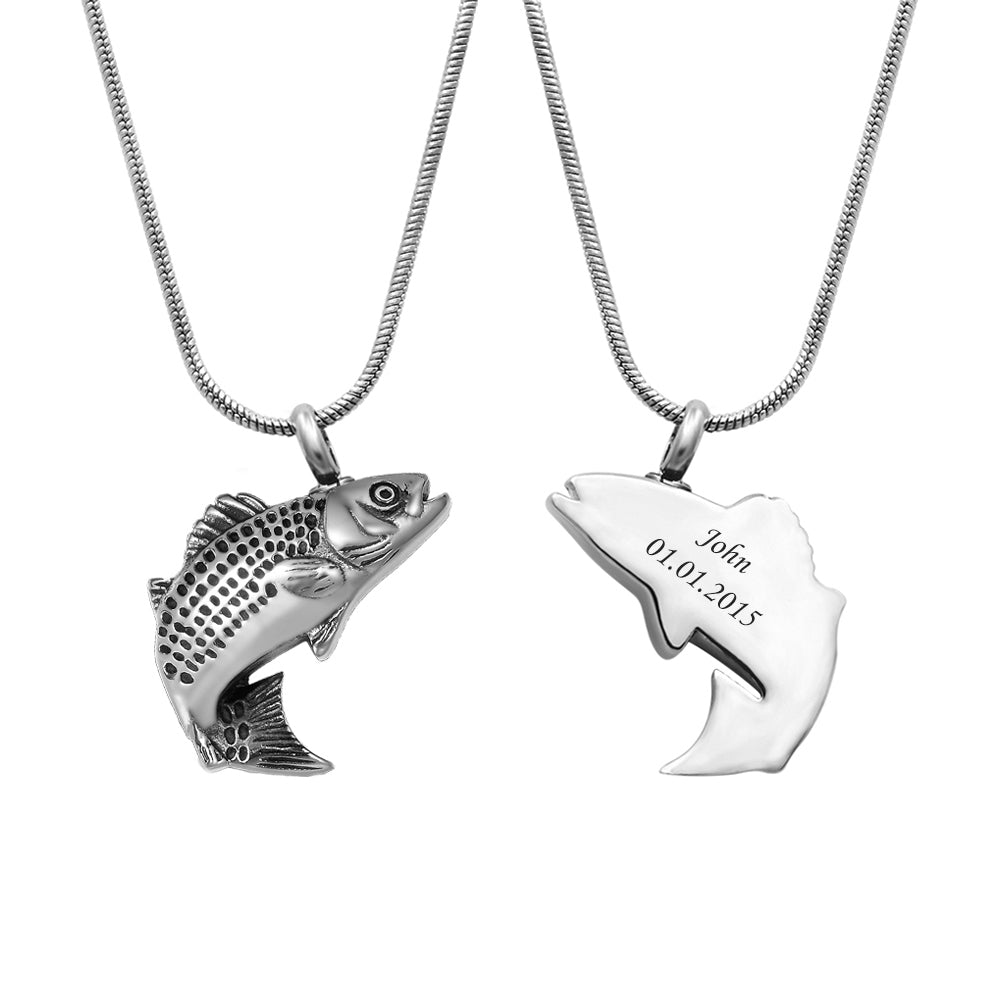 Custom Fish Cremation Urn Necklace, Engraved Memorial Jewelry Keepsake Ashes Necklace for Human - Anavia Memorial Jewelry