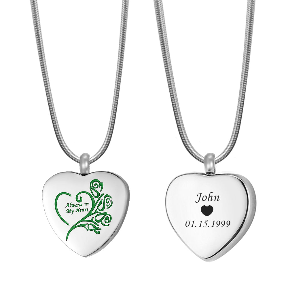 Custom Always In My Heart Urn Necklace, Cremation Jewelry Keepsake Ashes Memorial Necklace - Anavia Memorial Jewelry