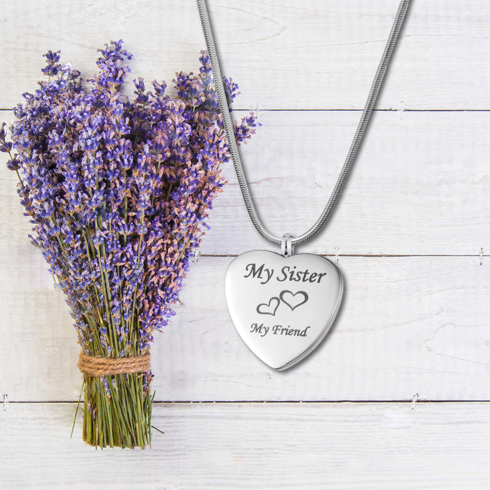 Personalized My Sister My Friend  Heart Urn Necklace,  Cremation Keepsake Memorial Jewelry for Sister - Anavia Memorial Jewelry