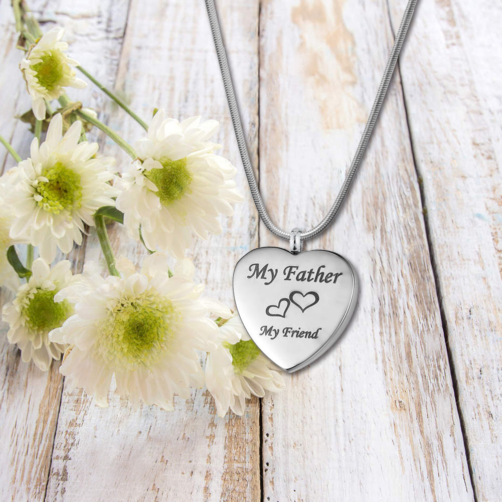 Custom  My Father My Friend Heart Urn Necklace, Cremation Keepsake Memorial Jewelry - Anavia Jewelry