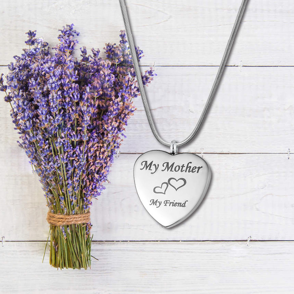Custom My Mother My Friend Heart Urn Necklace, Cremation Keepsake Memorial Jewelry - Anavia Jewelry