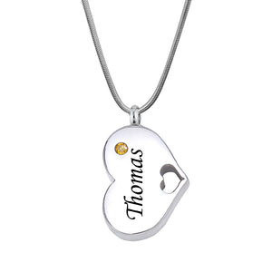 Personalized Heart Birthstone Cremation Urn Necklace,  Engraving Silver Sideways Memorial Jewelry - Anavia Personalized Jewelry & Gifts