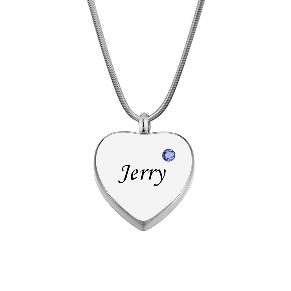 Custom  Silver Birthstone Heart Cremation Urn Necklace, Memorial Jewelry Keepsake Ashes Necklace - Anavia Memorial Jewelry