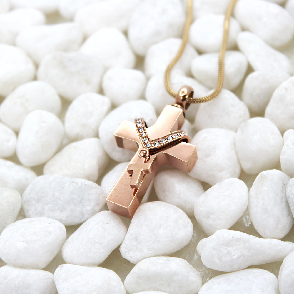Custom Rose Gold Double Cross Cremation Urn Necklace, Cremation for Ashes Keepsake Memorial Necklace - Anavia Memorial Jewelry