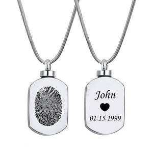 Personalized Fingerprint Dog Tag Cremation Urn Necklace, Memorial Jewelry Keepsake Ashes Necklace - Anavia Personalized Jewelry & Gifts
