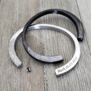 Silver Fingerprint Cremation Cuff Bracelet - Anavia Personalized Jewelry & Gifts