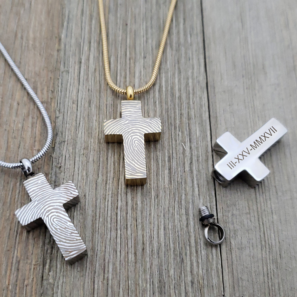 Cross Fingerprint Cremation Urn Necklace Jewelry, Personalized Memorial Jewelry Ashes Keepsake - Anavia Jewelry