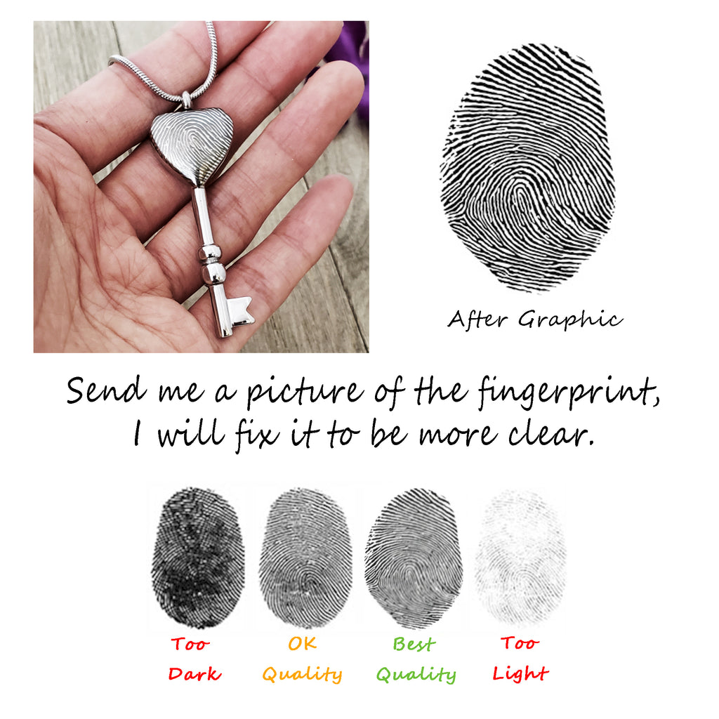Custom Fingerprint Heart Key Cremation Ashes Necklace, Personalized Memorial Urn Jewelry for Ashes - Anavia Jewelry