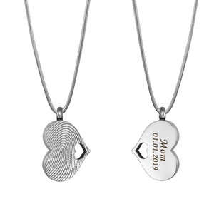 Engraving Fingerprint Heart Cremation Urn Necklace, Custom Memorial Jewelry for Human and Pet Ashes - Anavia Personalized Jewelry & Gifts