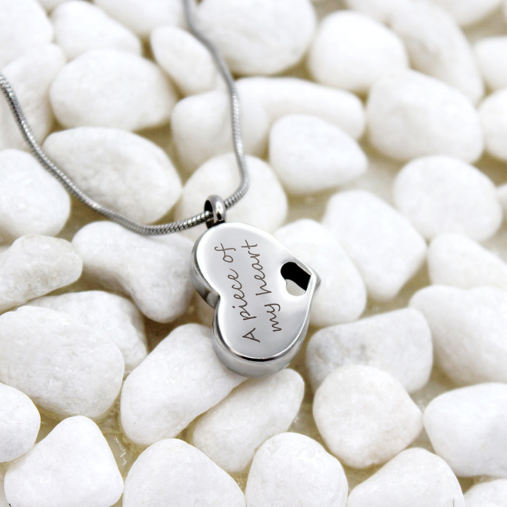 Engraving Fingerprint Heart Cremation Urn Necklace, Custom Memorial Jewelry for Human and Pet Ashes - Anavia Memorial Jewelry