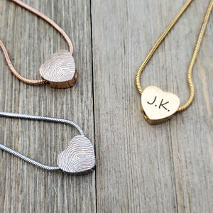 Custom Mini Heart Fingerprint Cremation Urn Necklace, Memorial Jewelry Keepsake Ashes Necklace - Anavia Personalized Jewelry & Gifts