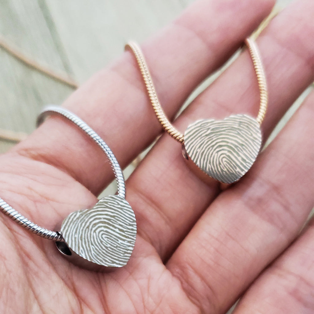 Custom Mini Heart Fingerprint Cremation Urn Necklace, Memorial Jewelry Keepsake Ashes Necklace - Anavia Memorial Jewelry