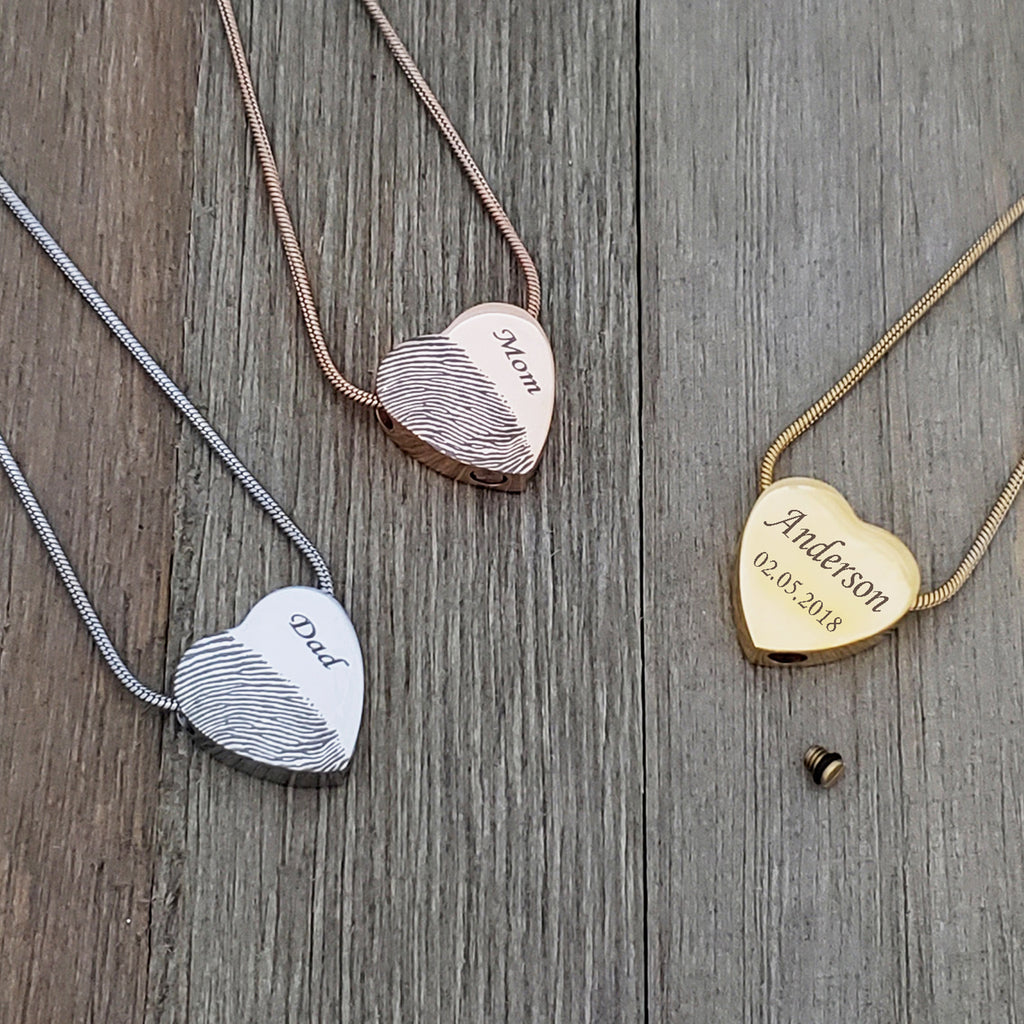 Personalized Half Fingerprint Urn Necklace,  Silver Heart Cremation for Ashes Memorail Necklace - Anavia Memorial Jewelry