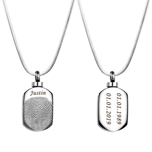 Personalized Fingerprint Dog Tag Urn Necklace, Cremation Jewlery for Ashes Memorial Neckalce - Anavia Personalized Jewelry & Gifts