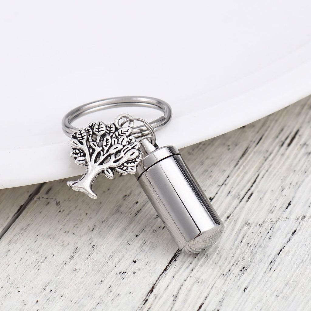 Personalized Cremation Life of Tree Urn Keychain, Custom Memorial Ashes Keychain for Human and Pets - Anavia Memorial Jewelry