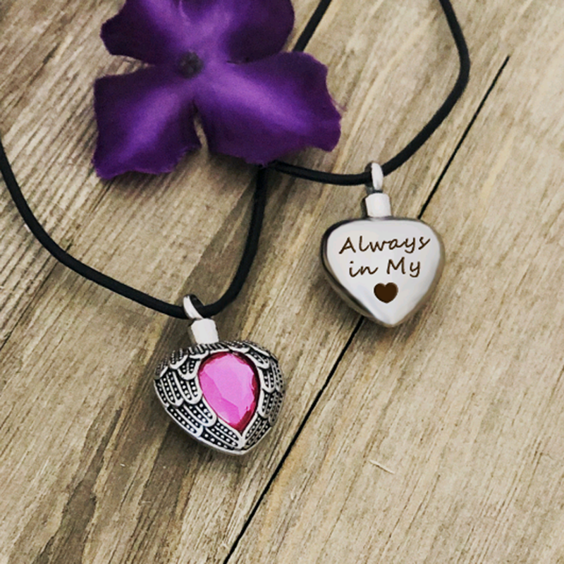 Custom Birthstone Cremation Urn Angel Wings Necklace, Memorial Jewelry Ashes Keepsake  for Human - Anavia Personalized Jewelry & Gifts