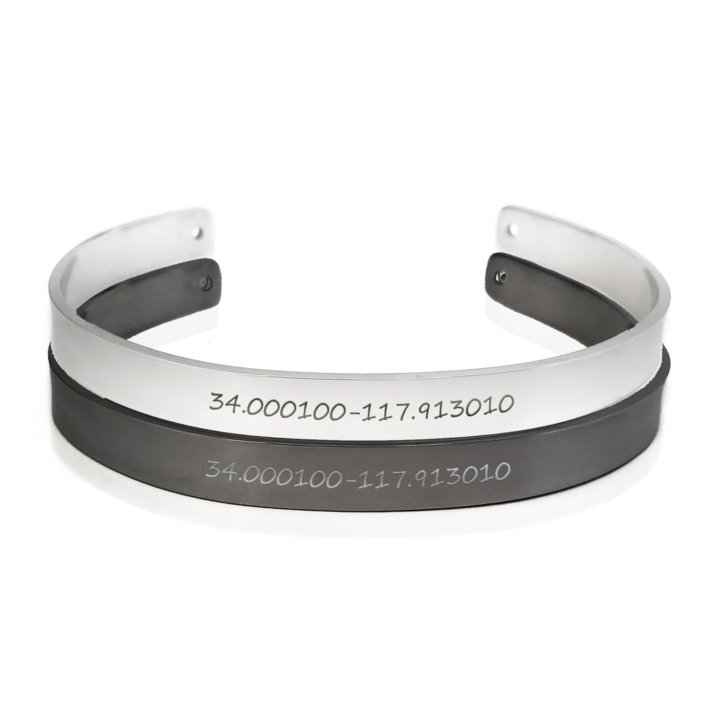 Coordinates Bracelet Men Cuff Bangle Anniversary Gift for Him - Anavia Personalized Jewelry & Gifts