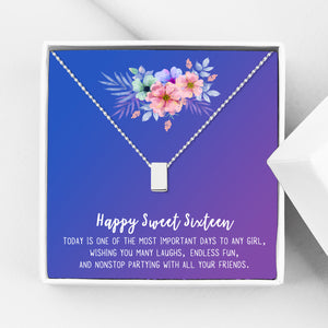 Happy Sweet Sixteen Birthday Motivation Gift Box - Cube Necklace - Anavia Personalized Jewelry & Gifts