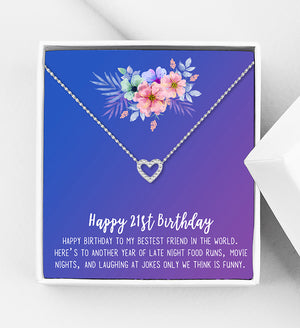 Happy 21st Birthday Motivation Gift Box - Heart Necklace - Anavia Personalized Jewelry & Gifts