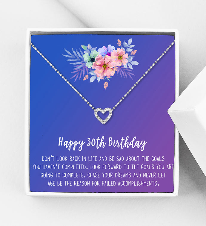 Happy 30th Birthday Motivation Gift Box - Heart Necklace - Anavia Personalized Jewelry & Gifts