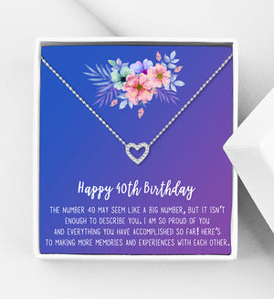 Happy 40th Birthday Motivation Gift Box - Heart Necklace - Anavia Personalized Jewelry & Gifts
