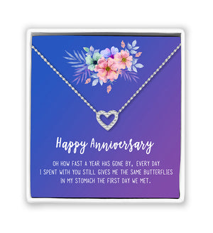 Happy Anniversary Couples Gift Box - Heart Necklace - Anavia Personalized Jewelry & Gifts