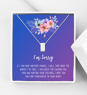 I'm Sorry Apology Gift Box - Cube Necklace - Anavia Personalized Jewelry & Gifts
