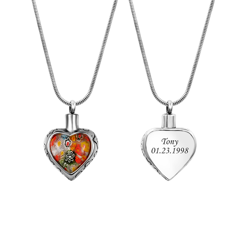 Custom Heart Flower Urn Necklace, Cremation Jewelry Memorial Necklace for Human - Anavia Personalized Jewelry & Gifts