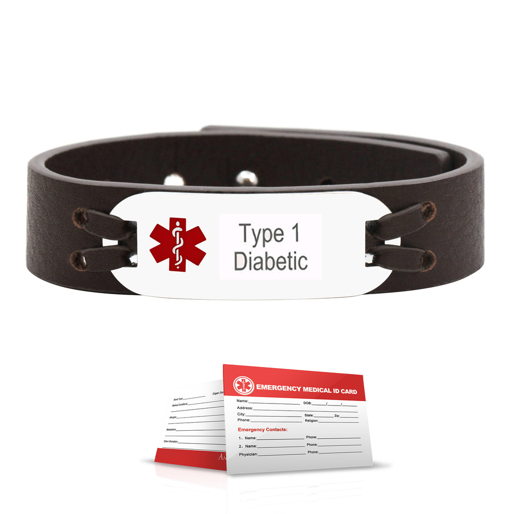 Personalized Medical ID Alert Genuine Leather Bracelet - Anavia Jewelry