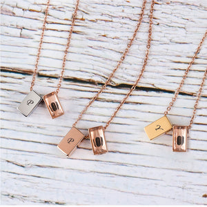 Custom Mini Double Cube Cremation Urn Necklace, Engraving Initial Memorial Jewelry - Anavia Personalized Jewelry & Gifts