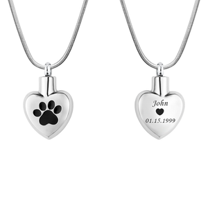Anavia Custom Paw in My Heart Cremation Jewelry Pet Memorial Necklace Cremation Urn Necklace Keepsake - Anavia Personalized Jewelry & Gifts