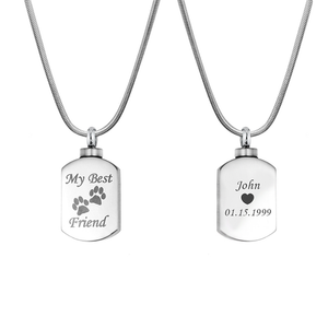 Custom Best Friend Paw Print Cremation Urn Necklace,  Memorial jewelry for Pets - Anavia Personalized Jewelry & Gifts
