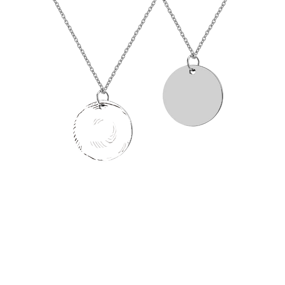 Personalized  Fingerprint Round Memorial Necklace for Family and Friend - Anavia Memorial Jewelry