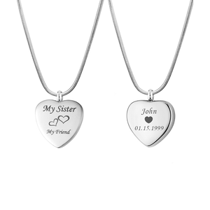 Personalized My Sister My Friend  Heart Urn Necklace,  Cremation Keepsake Memorial Jewelry for Sister - Anavia Personalized Jewelry & Gifts