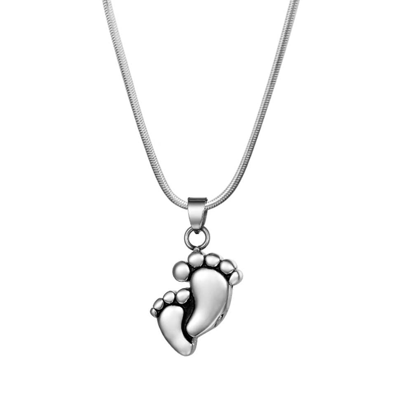 Baby Foot Print Cremation Urn Jewelry Necklace, Memorial Jewelry Ashes Keepsake for Loved One - Anavia Memorial Jewelry