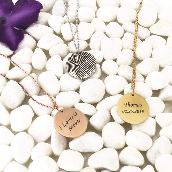 Personalized  Fingerprint Round Memorial Necklace for Family and Friend - Anavia Jewelry