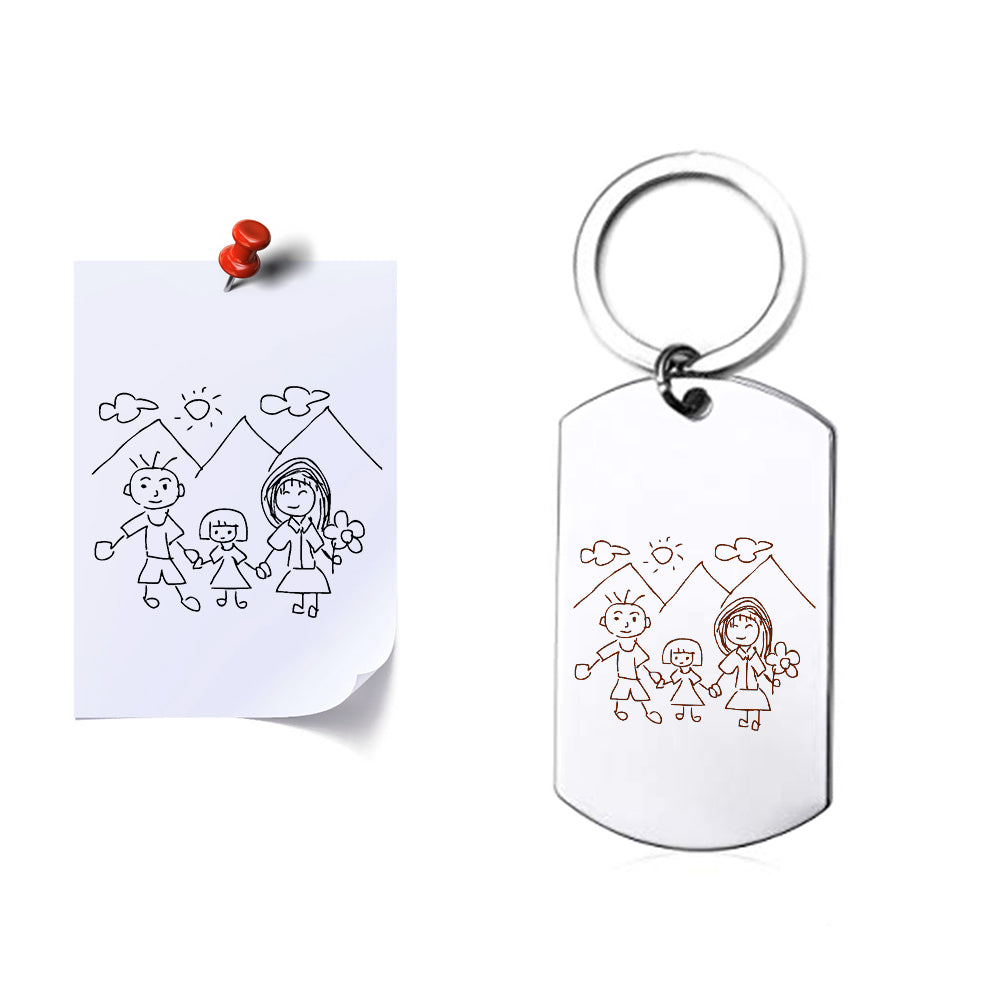 Kids Handwritten Drawing Keychain - Anavia Personalized Jewelry & Gifts