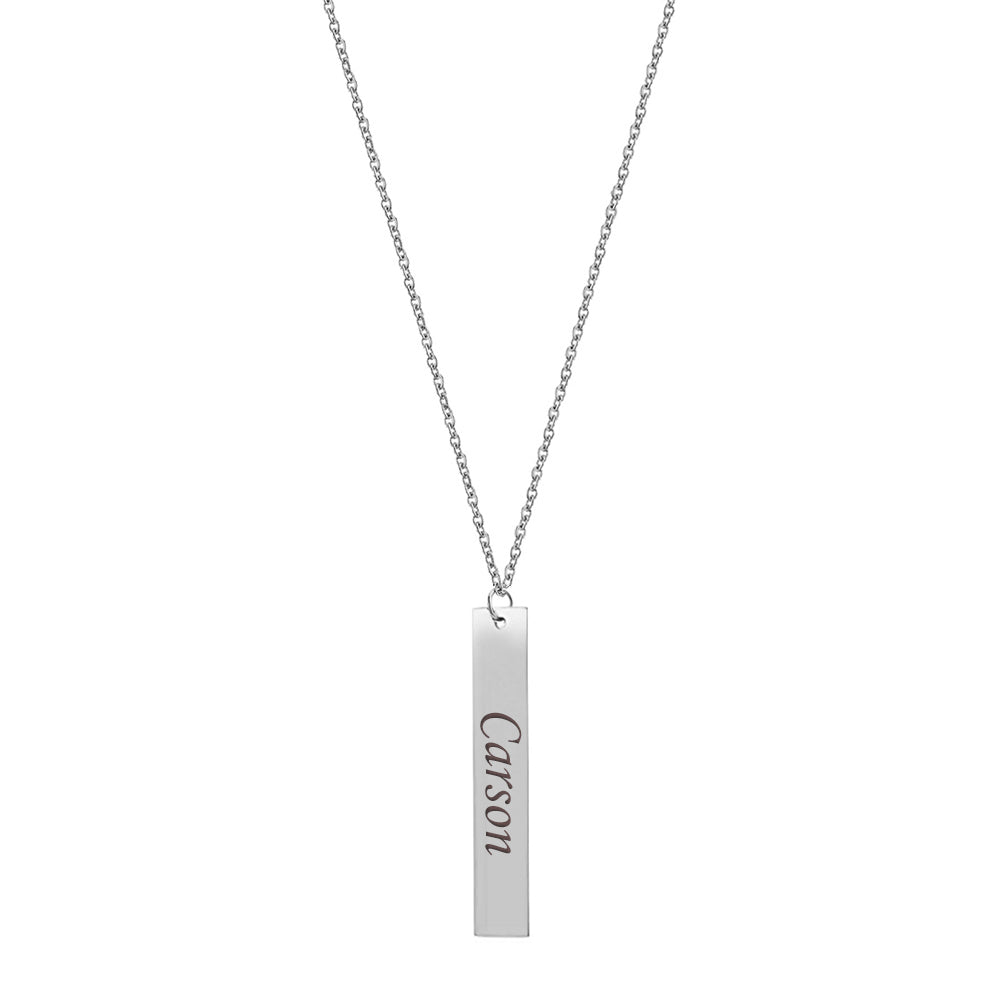 Personalized Silver Vertical Bar Name Necklace - Anavia Personalized Jewelry & Gifts